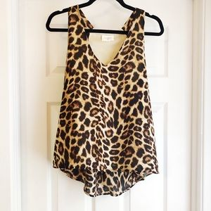 EVERLY Leopard Print Tank V-Neck Lined Brown Small